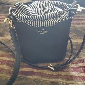 Kate spade small black leather bucket bag